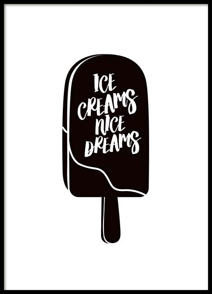 Ice Creams Nice Dreams Poster in der Gruppe Poster / Typografie Poster bei Desenio AB (10027)