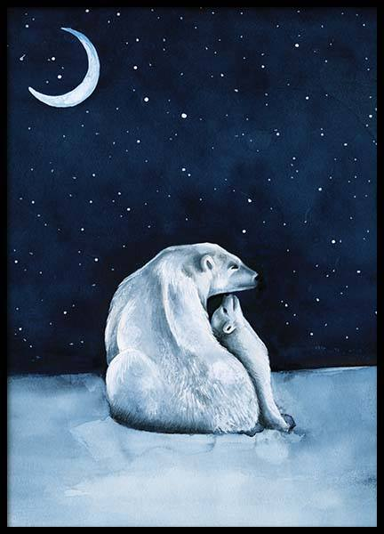 Polar Bear Night Sky Poster in der Gruppe Poster / Kinder bei Desenio AB (10275)