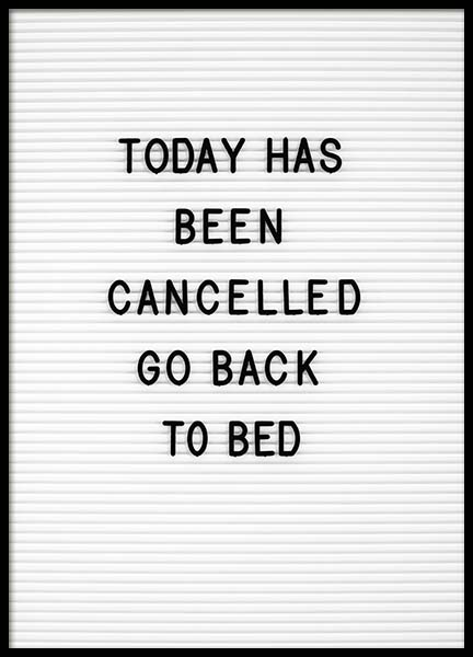 Go Back To Bed Poster in der Gruppe Poster / Typografie Poster bei Desenio AB (10359)