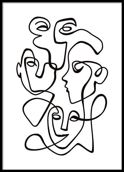 Abstract Line People No2 Poster in de groep Posters / Zwart wit bij Desenio AB (10841)