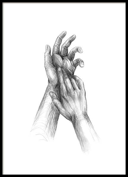 Your Hands Sketch Poster in der Gruppe Poster / Illustration bei Desenio AB (12133)