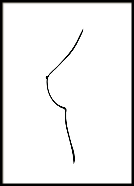 Boob Line Drawing Poster in der Gruppe Poster / Illustration bei Desenio AB (12450)