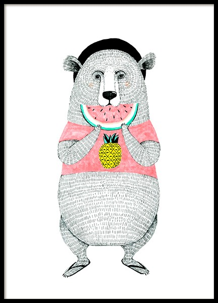 Bear with Melon Poster in der Gruppe Poster / Kinder bei Desenio AB (12473)