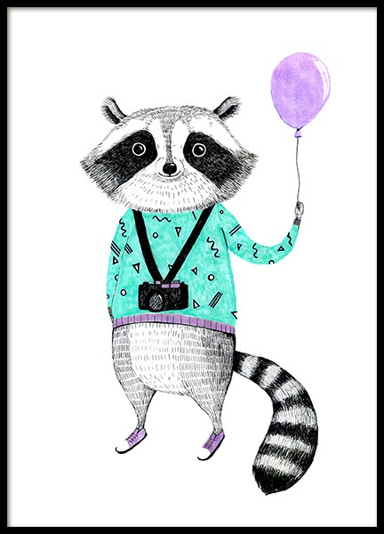 Raccoon with Balloon Poster in der Gruppe Poster / Kinder bei Desenio AB (12474)