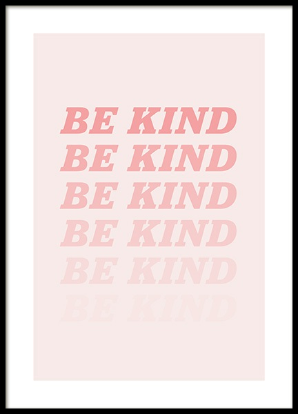 Be Kind Pink Poster in der Gruppe Poster / Typografie Poster bei Desenio AB (12679)