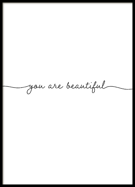 You Are Beautiful Poster in der Gruppe Poster / Typografie Poster bei Desenio AB (13177)