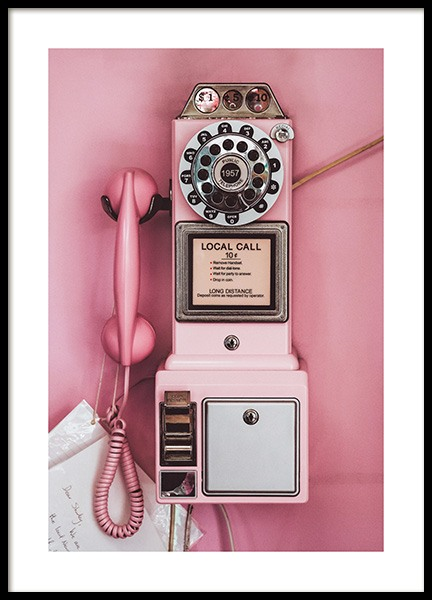 Pink Pay Phone Poster in de groep Posters / Vintage bij Desenio AB (13404)
