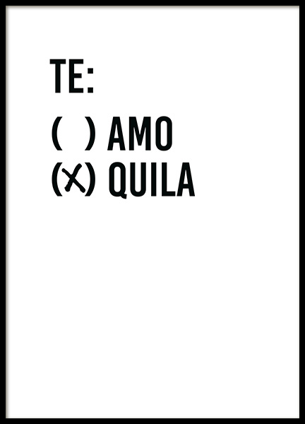 Te Quila Poster in der Gruppe Poster / Typografie Poster / Humor bei Desenio AB (13601)