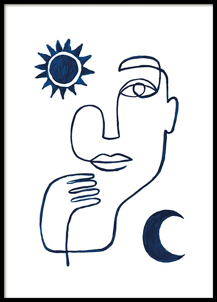 Abstract Face in Blue Poster in de groep Posters / Kunst / Minimalisme bij Desenio AB (13664)