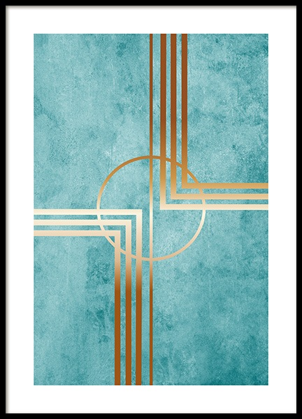 Teal and Gold Poster in der Gruppe Poster / Gold und Silber bei Desenio AB (13780)