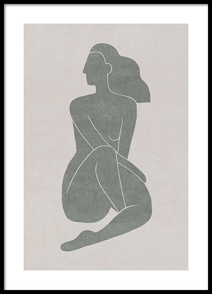 Seated Pose Green No1 Affiche dans le groupe Affiches / Illustrations chez Desenio AB (13799)