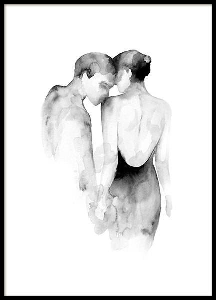 Watercolor Couple Poster in der Gruppe Poster / Kunstdrucke / Aquarelle bei Desenio AB (13851)