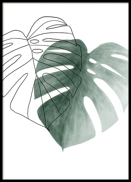Watercolor Leaves No2 Poster in de groep Posters / Botanisch / Monstera´s bij Desenio AB (13990)