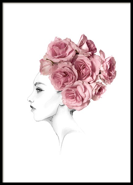 Rose Hairbun Poster in der Gruppe Poster / Illustration bei Desenio AB (14046)