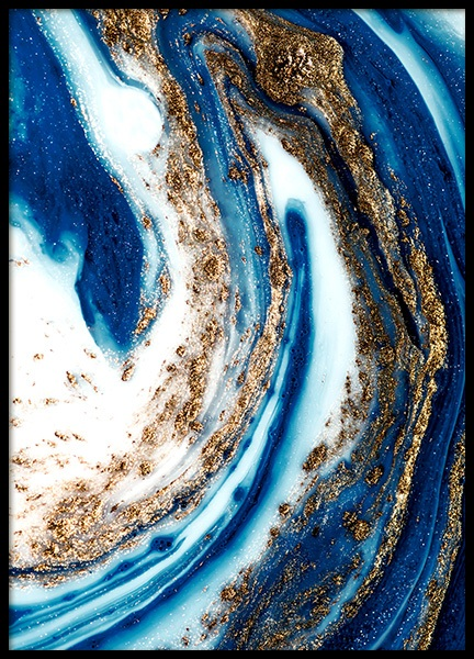 Blue and Gold Swirl No1 Poster in der Gruppe  bei Desenio AB (14201)