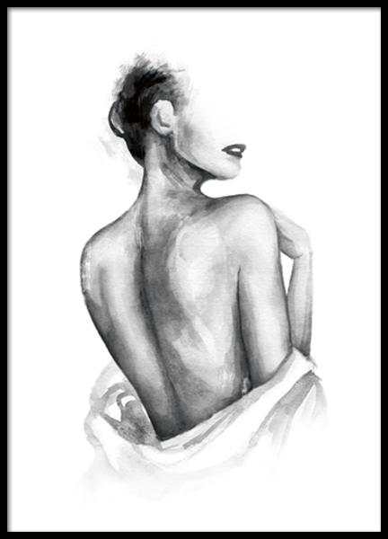 Almost Nude Watercolor Poster - Blote rug - Desenio.be