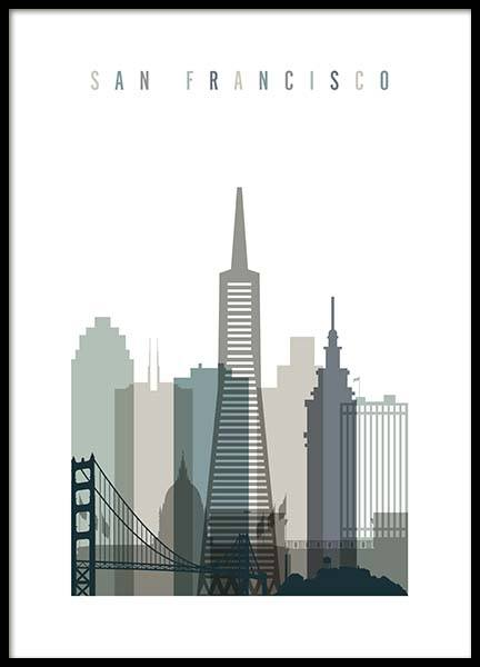 San Francisco Skyline Poster in de groep Posters / Handpicked / Art Prints Vicky bij Desenio AB (2349)