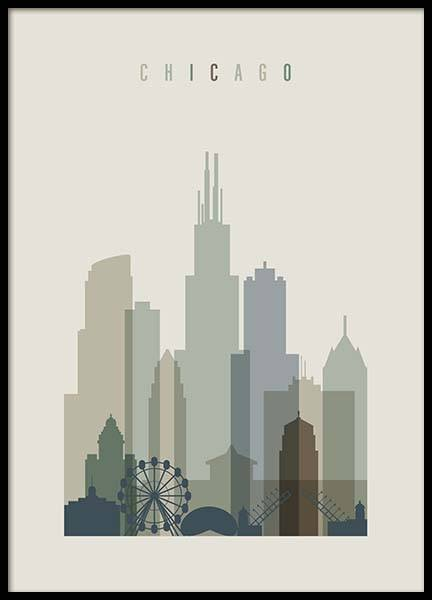 Chicago Skyline Poster in de groep Posters / Handpicked / Art Prints Vicky bij Desenio AB (2353)