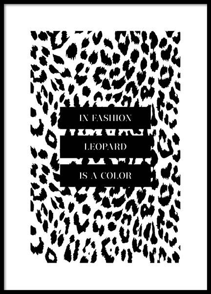 In Fashion Leopard Is A Color Poster in de groep Posters / Posters met tekst bij Desenio AB (3180)