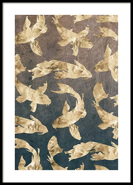 Golden Fishes Pattern Poster in der Gruppe Poster / Grafische Kunst bei Desenio AB (3183)