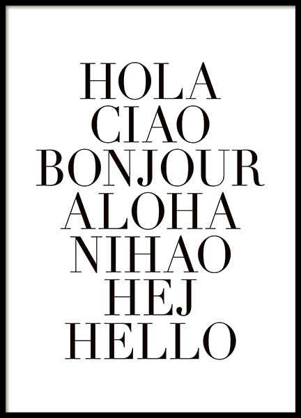 How To Say Hello Affiche dans le groupe Affiches / Affiche citation chez Desenio AB (3612)