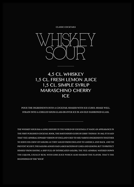Classic Whiskey Sour Poster in der Gruppe Poster / Typografie Poster bei Desenio AB (3624)