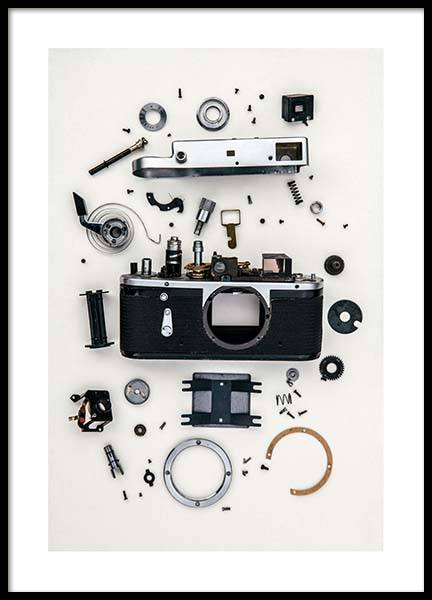 Disassembled Camera Poster in de groep Posters / Fotokunst bij Desenio AB (3732)