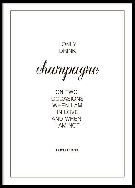 Poster I only drink champagne Chanel