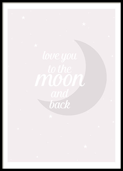 Moon And Back Pink, Poster in der Gruppe Poster / Kinder bei Desenio AB (8463)
