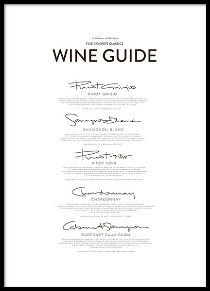 Five Wine Classics, Poster in der Gruppe Poster / Typografie Poster bei Desenio AB (8558)