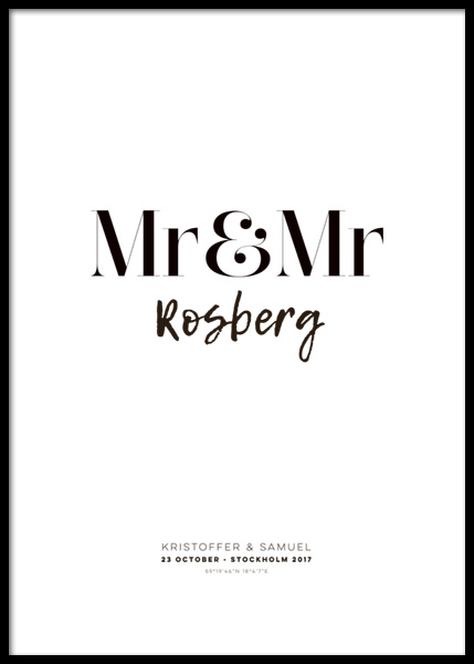 Mr and Mr Personal Poster in der Gruppe Poster / Personalisierte Poster bei Desenio AB (pp0013)