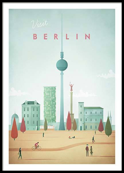 Berlin Travel Poster in der Gruppe Poster / Handpicked / Henry Rivers bei Desenio AB (pre0007)