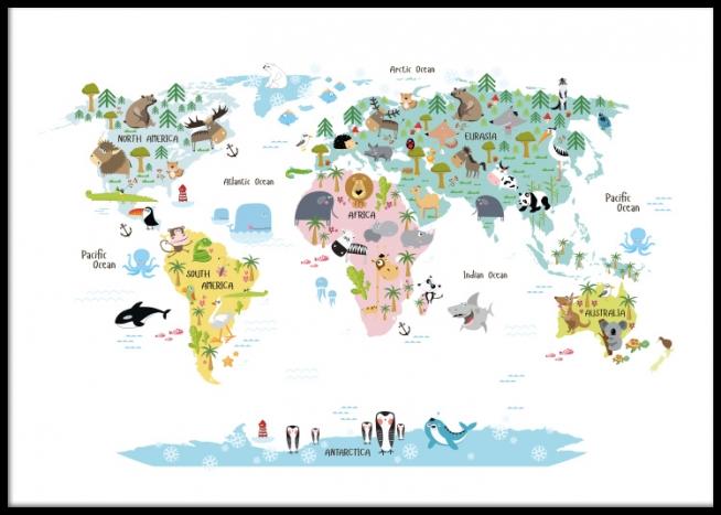 Kinder Poster Mit Weltkarte Mit Tieren Schone Poster Und Plakate